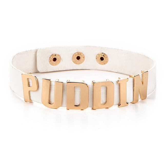 Multiple Colored Harley Quinn Puddin Chokers-White-