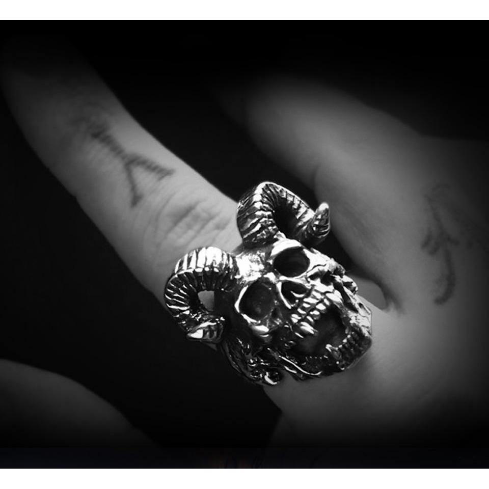 Occult Horned Devil Rings For Rocker Guys - The Black Ravens