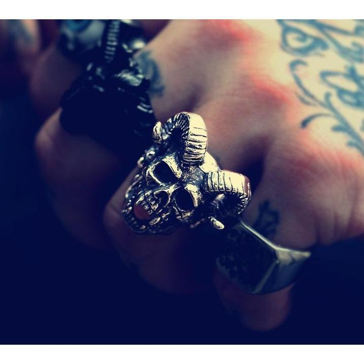 Occult Horned Devil Rings For Rocker Guys-7-