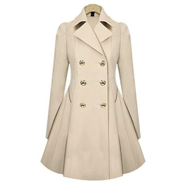 Office Lady Warm Winter Trench Coat-Beige-XS-