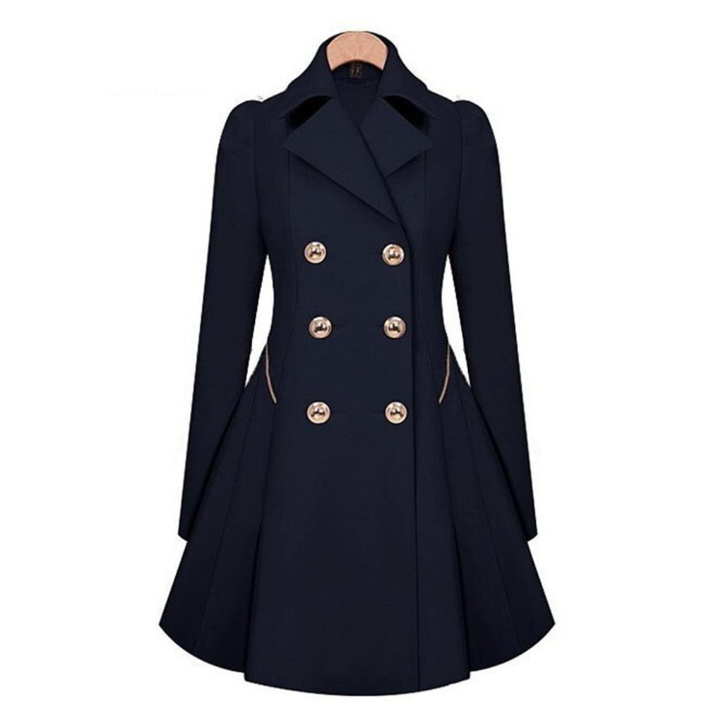Office Lady Warm Winter Trench Coat-Dark Blue-XS-
