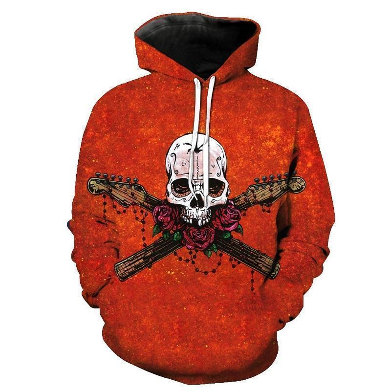Orange Abstract Musician Skull Hoodie - The Black Ravens
