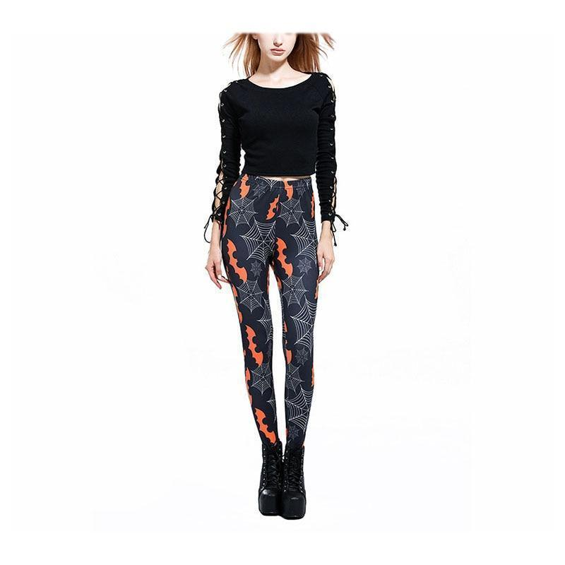 Orange Bat Spider Web Ladies Tights - The Black Ravens