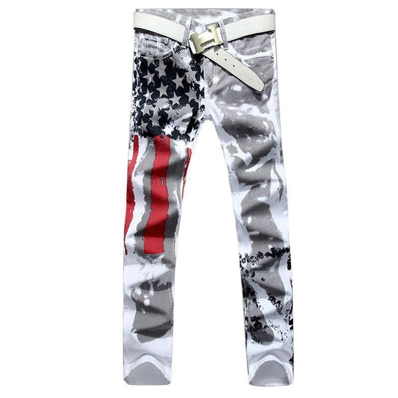 Patriotic Mens American USA Flag Printed Straight Jeans-White-28-