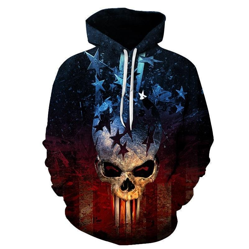 Patriotic Punisher Inspired American Hoodie-Blue-XXS-