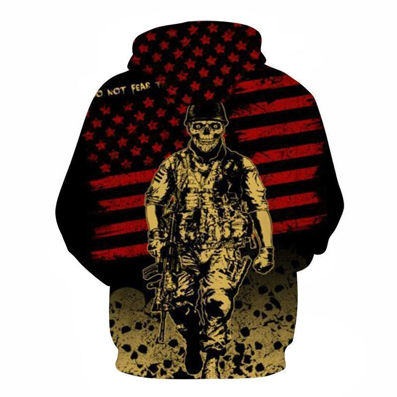 Patriotic Rocker Soldier American Flag Hoodie - The Black Ravens