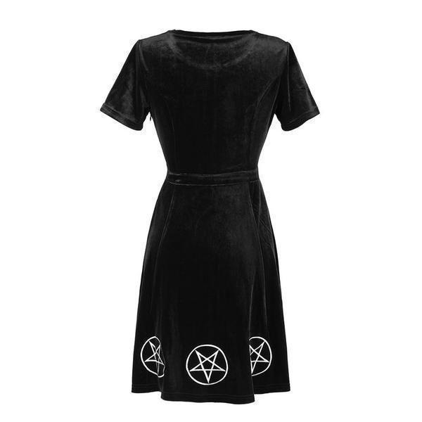 Pentagram Print Gothic Lace Bust Dress - The Black Ravens