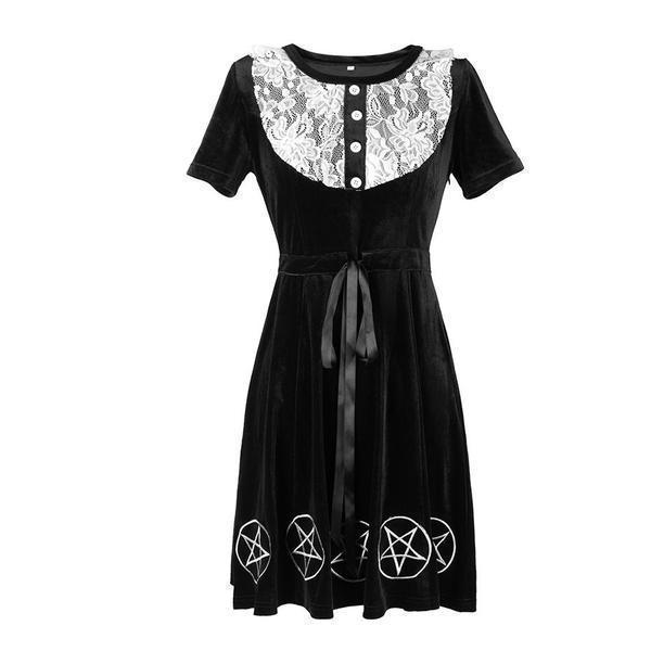 Pentagram Print Gothic Lace Bust Dress-S-