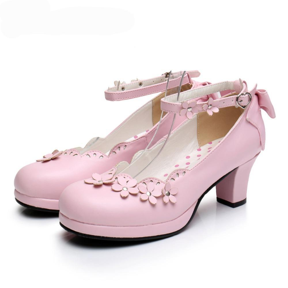 Pink Floral Low Heel Pastel Goth Shoes - The Black Ravens