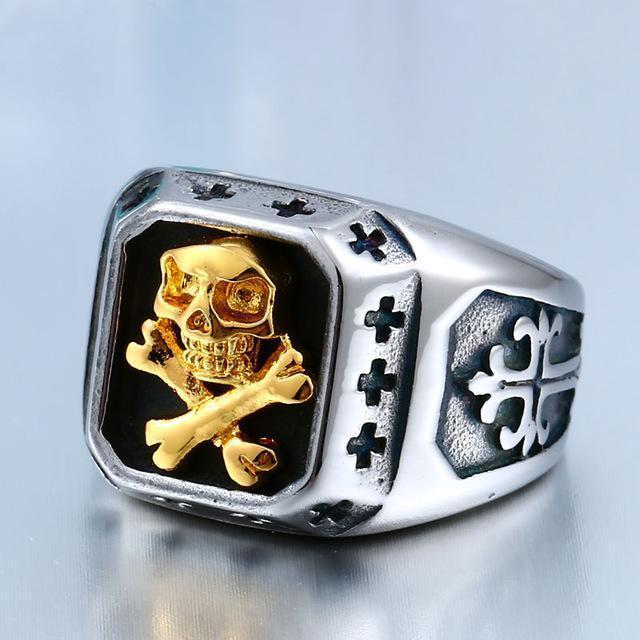 Pirate Golden Skulls and Bones Titanium Bands - The Black Ravens