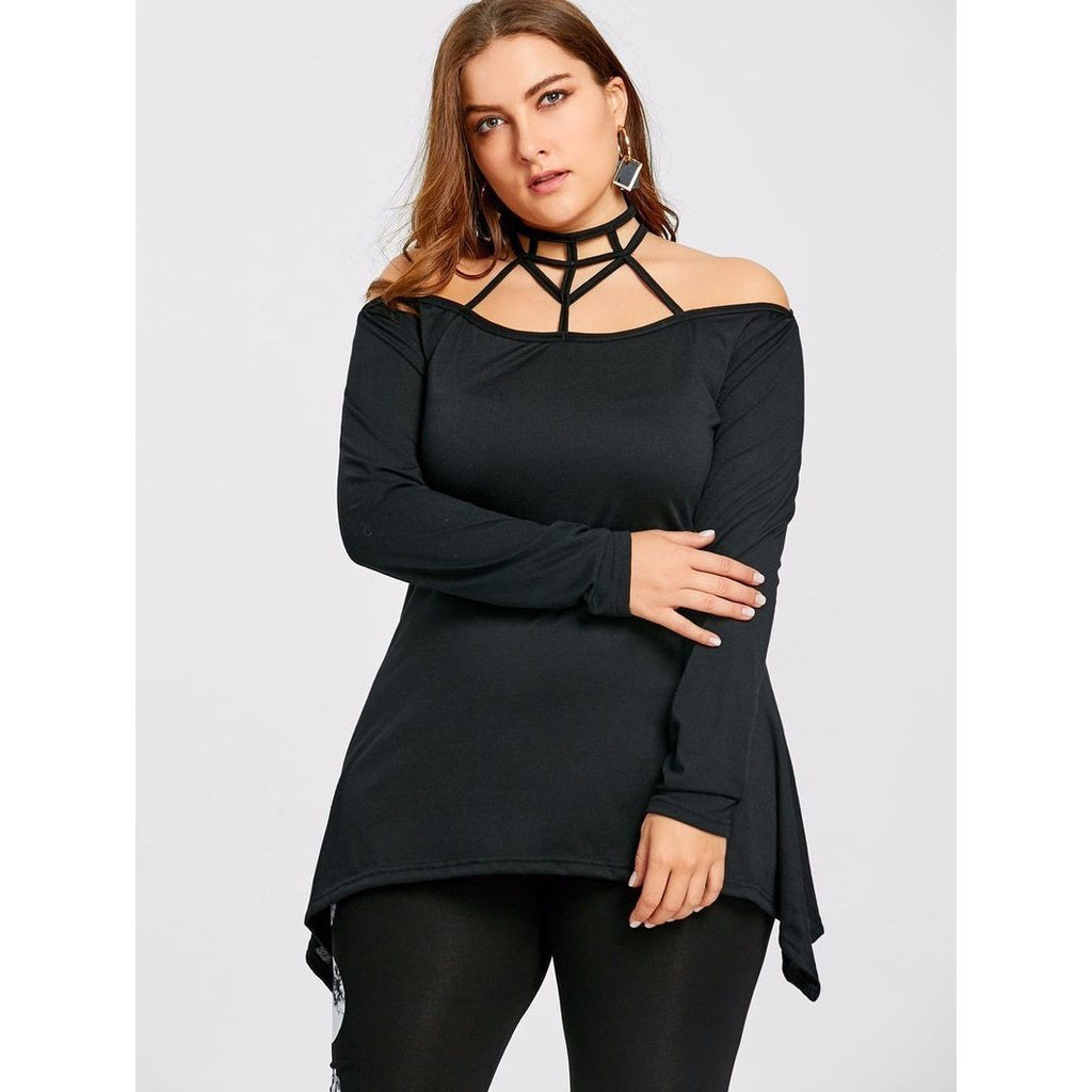 Plus Size Off-Shoulder Gothic Halter Tee-L-