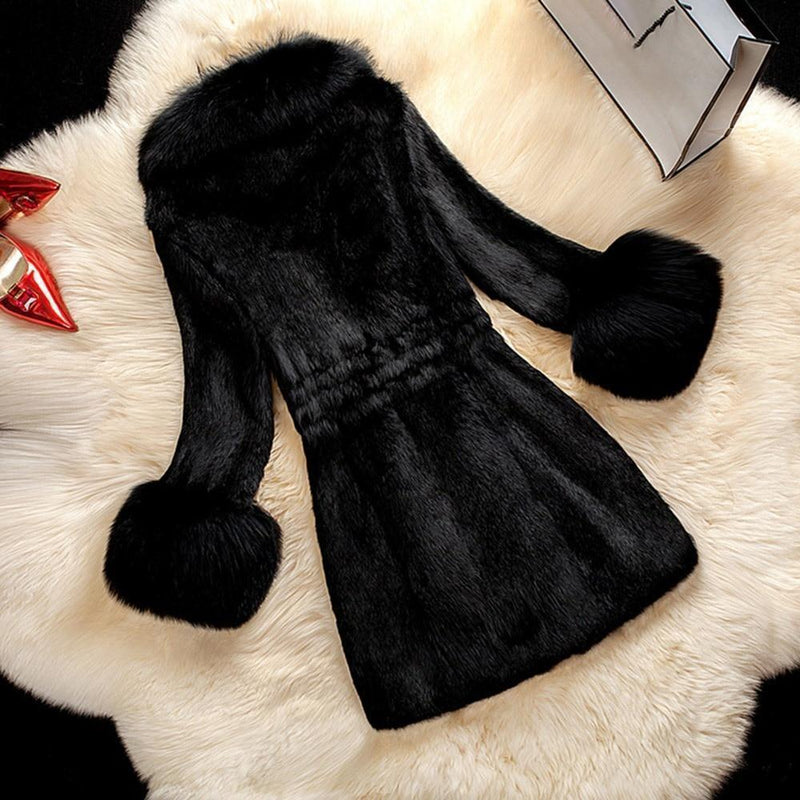 Plus Size Women's Vintage Faux Fur Winter Coat-Black-M-