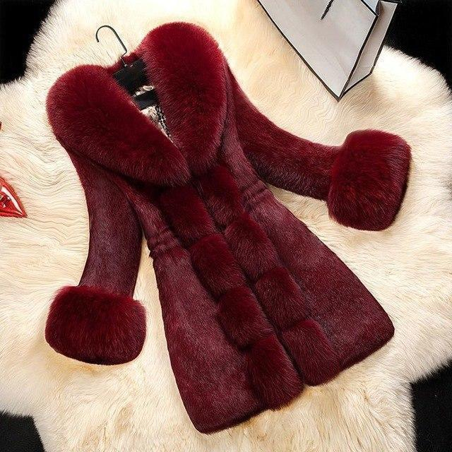 Plus Size Women's Vintage Faux Fur Winter Coat-Burgundy-M-