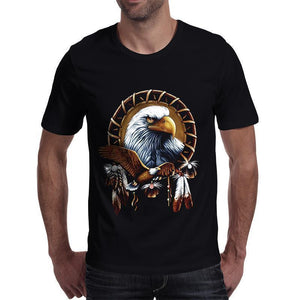 Powerful Men's Eagle T-Shirt For Guys-Black-S-
