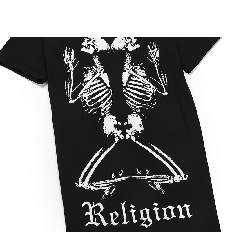 Praying Religious Skeletons Tees-Black-4 - S-
