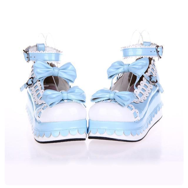 Princess Bow Wedge Lolita Heel Shoes-Blue-6-