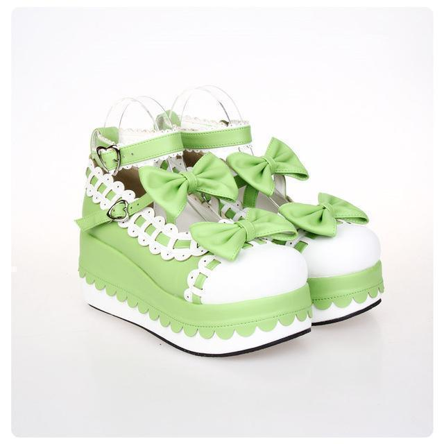 Princess Bow Wedge Lolita Heel Shoes-Green-5-