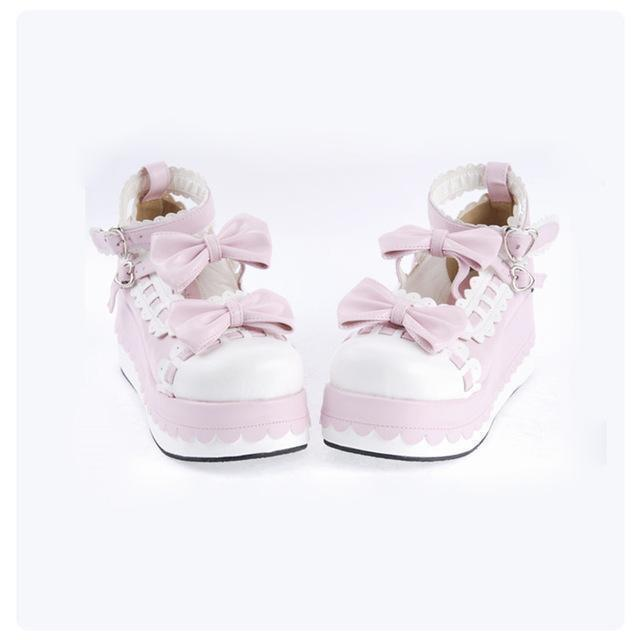 Princess Bow Wedge Lolita Heel Shoes-Pink-5-