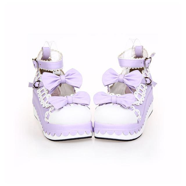 Princess Bow Wedge Lolita Heel Shoes-Purple-6-