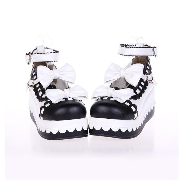 Princess Bow Wedge Lolita Heel Shoes-White-6-