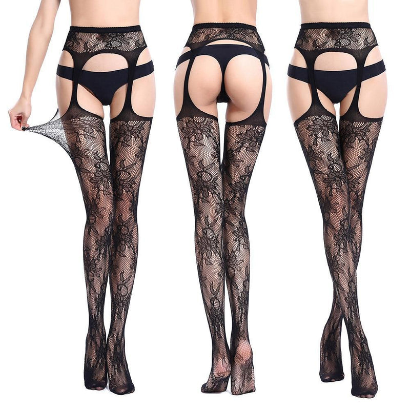 Sexy Womens Lingerie Net Erotic Bodystocking Lace Top Garter Belt Thigh Stocking Pantyhose Bodystocking сексуальное белье - The Black Ravens