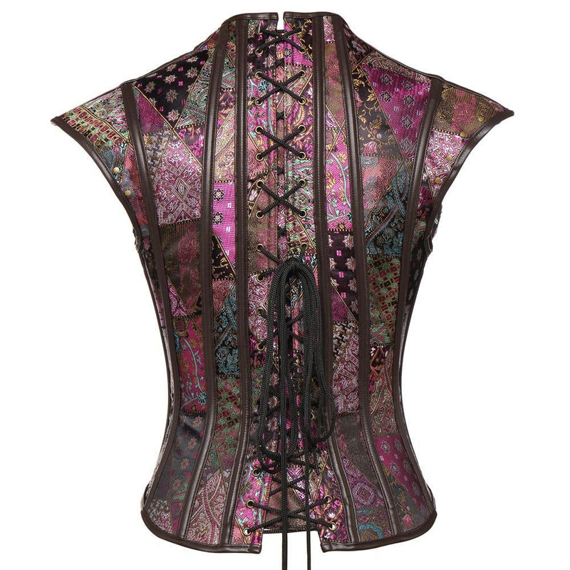 Women Retro Steampunk Gothic Corsets and Bustiers Burlesque Lolita Waist Trainer Corset Overbust Steel Boned 2 in 1 Vest & Tops - The Black Ravens