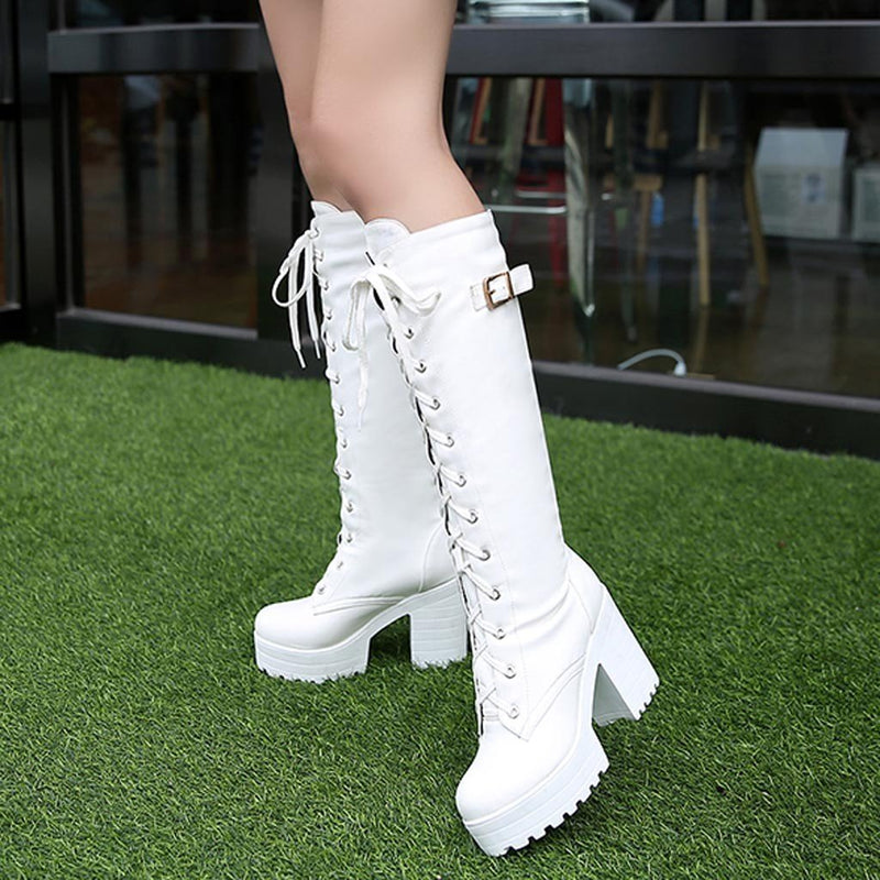 Gothic Square Chunky Block High Heels Riding Boots Women Lace Up Thick Platform Rock Punk Cosplay Knee High Boots calzado mujer - The Black Ravens