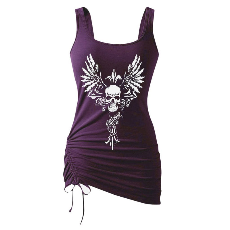 Gothic Tank Top Women Fashion Skull Print Tank Top Underwear Women Sleeveless Sexy Summer 2019 Black Tank Top Women Mujer - The Black Ravens