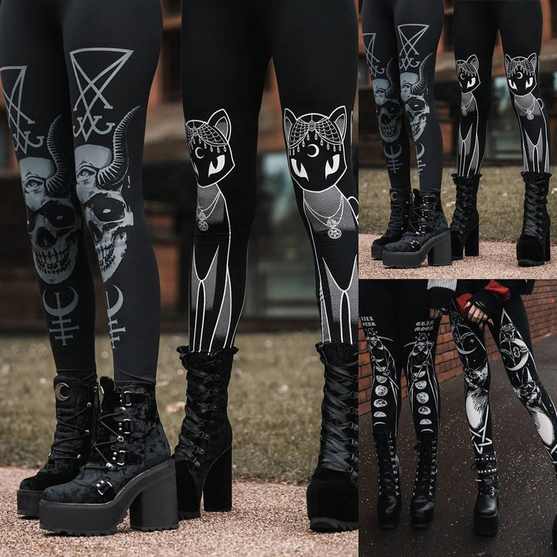 Gothic Style Stretch Skinny Leggings Women Fashion Goth Sneaker Print Casual Autumn Winter High Waist Women Leggings Jeggings - The Black Ravens