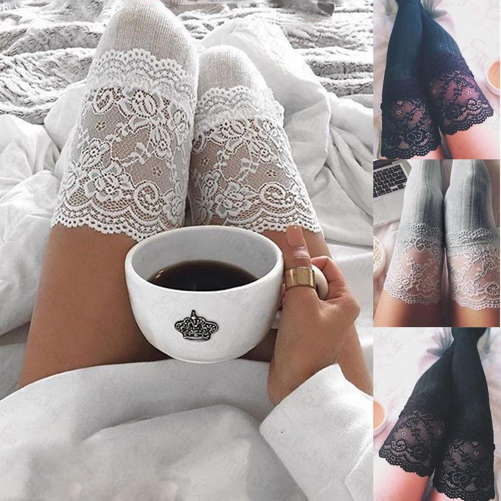 New Fashion 7 Colors Striped Thigh High Stockings Women Lace Sexy Cotton Stocking Autumn spring Knee Socks Over The Knee 2019 - The Black Ravens