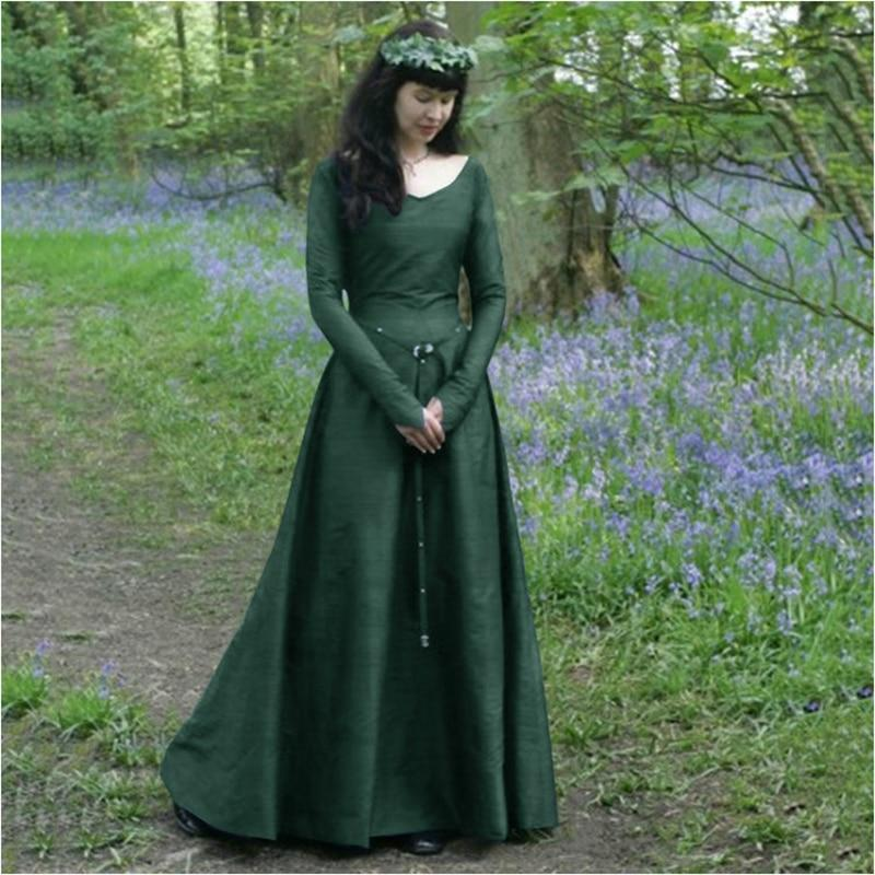 Women Witch Dress Halloween Cosplay Costumes Scary Vampire Witch Dress for Women Medieval Maxi Dress Plus Size - The Black Ravens