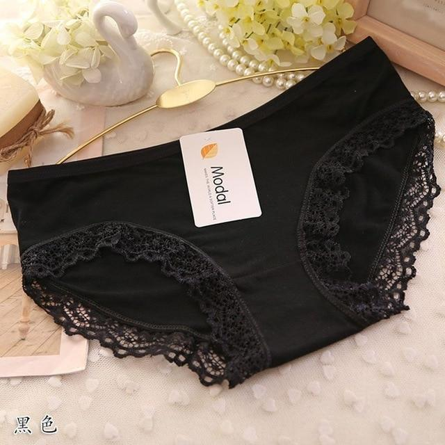 Lace Panties Women Sexy Lace Lingerie Solid Color Pretty Briefs High Quality Cotton Mid Waist Women Underwear For Women - The Black Ravens