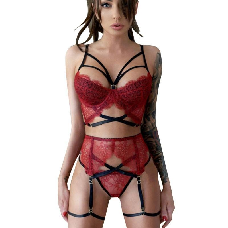 Sexy Sling Wine Red Garter Suit Three-point Bra Set For Women Plus Size Bra Set Confused Transparent Lace Strap Socks Suit - The Black Ravens