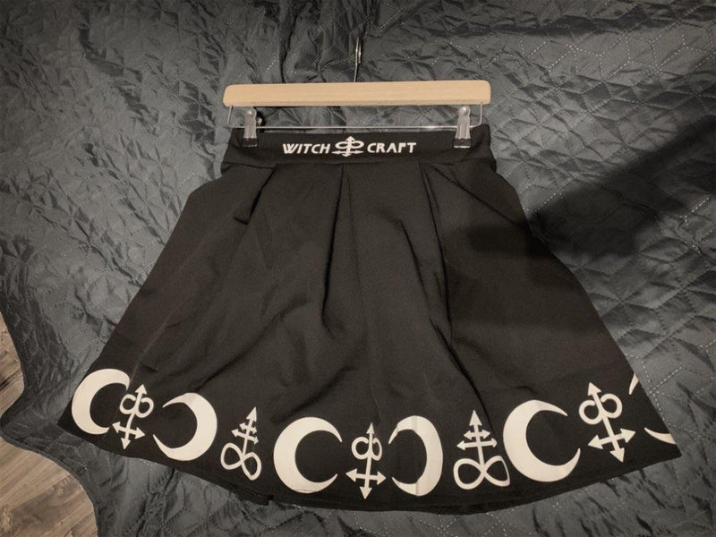 Women Gothic Punk skirts womens with design summer skirts womens Witchcraft Moon Magic Spell Symbols Black Mar - The Black Ravens
