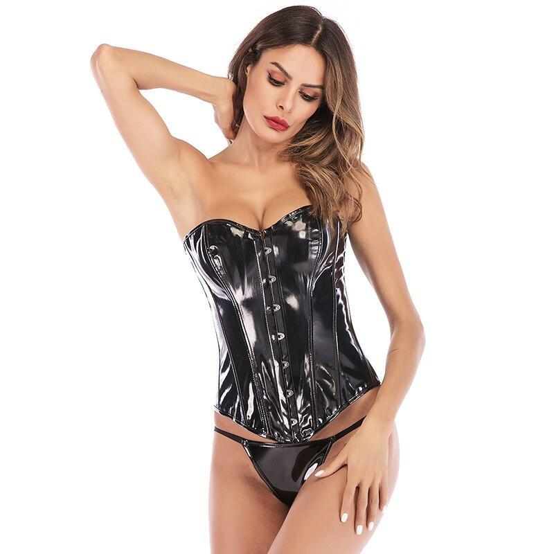 LELINTA Black PVC Leather Steampunk Gothic Wasit Trainer Overbust Corset Bustier Body Control Waist Push up Breast Wrap Corsets - The Black Ravens