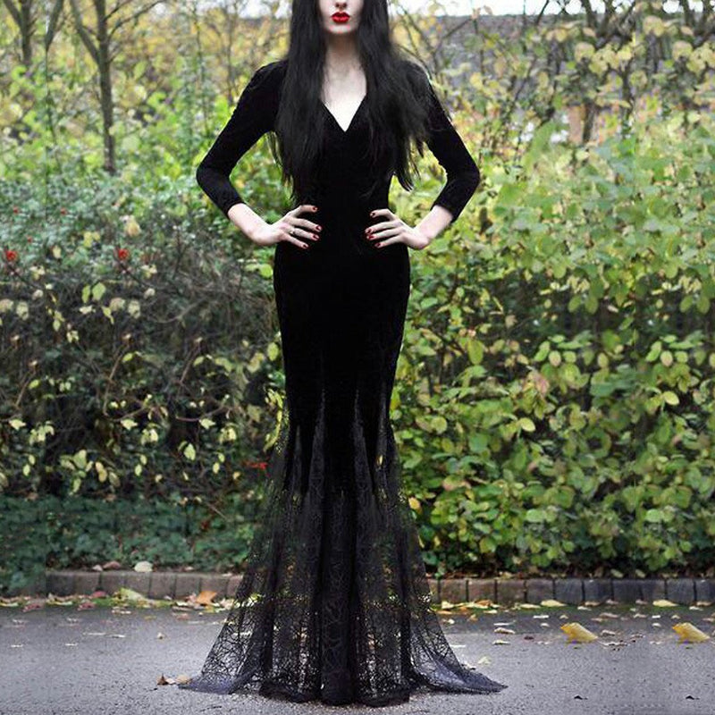 38# 2020 Women's Fashion Lace Dress Sexy Slim Gothic Style V-neck Long Sleeve Patchwork Lace Dress Dresses Woman Party Night - The Black Ravens