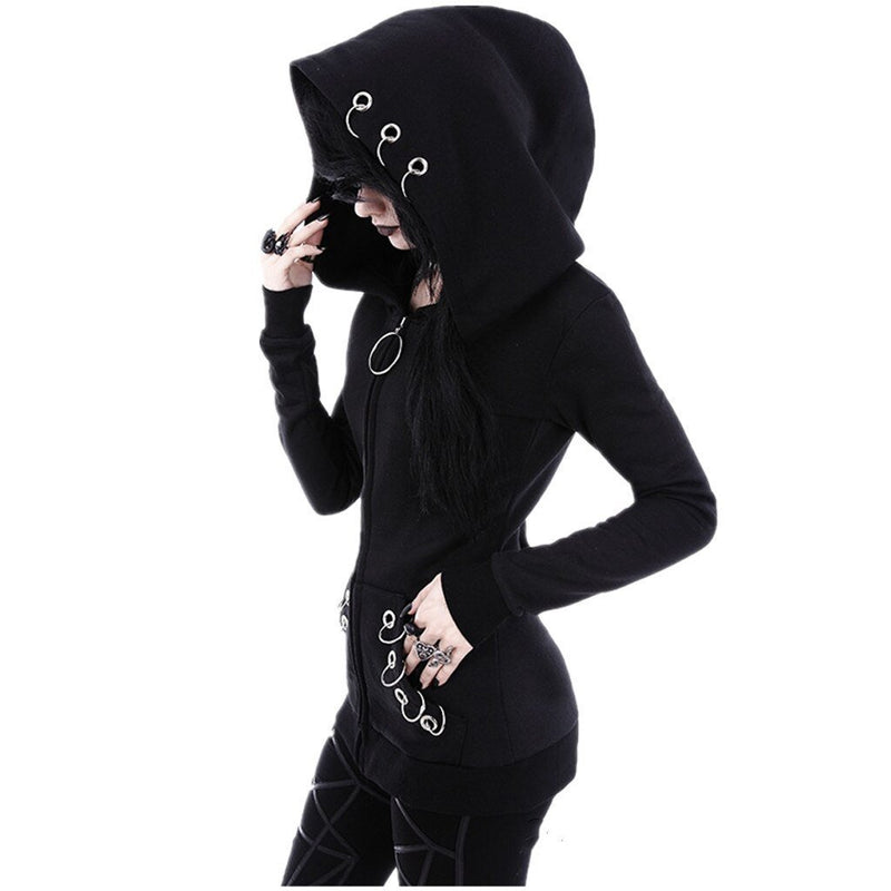 Womail Sweatshirts Print Hooded Solid Black Autumn Loose Gothic Punk Long Sleeve Fashion Sweatshirt Sudadera S-XXL J30 - The Black Ravens