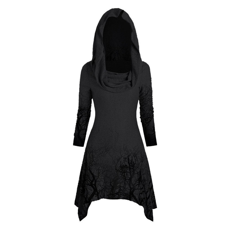 Women's Irregular Hoodies Sweatshirt Halloween Tree Print Convertible Collar Asymmetrical Knitwear Cloak Pullovers Tops Gothic - The Black Ravens