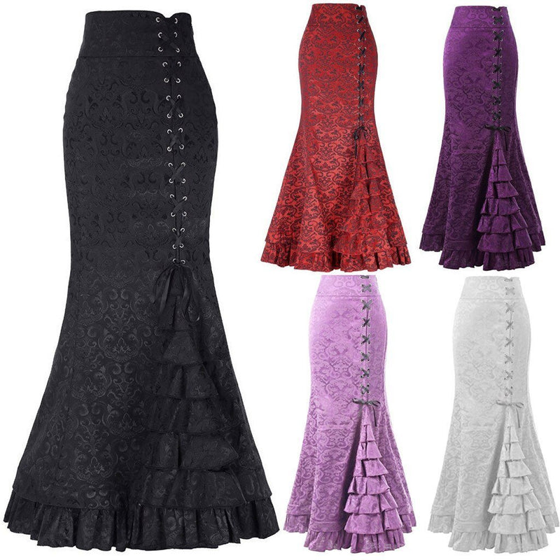 JAYCOSIN Vintage Punk Women Skirts Retro Trumpet Gothic Long Ruffle Steampunk Skirt Ladies Fishtail Victorian Bandage Skirts - The Black Ravens