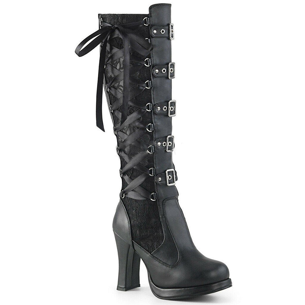 Punk Gothic Black and Red High Heel Boots - The Black Ravens