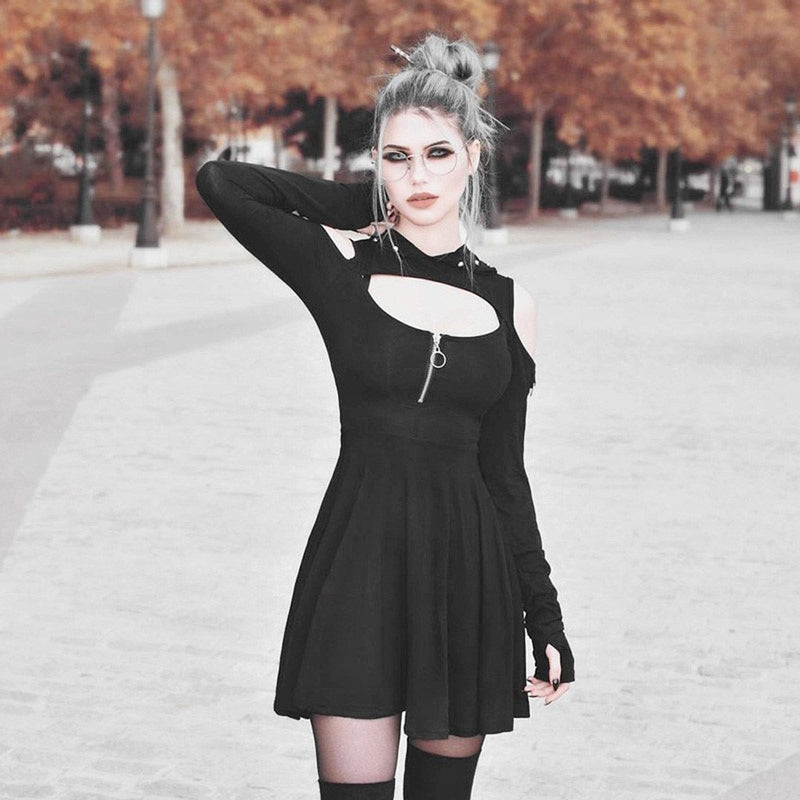 Gothic Hooded Low Cut Mini Dress - The Black Ravens