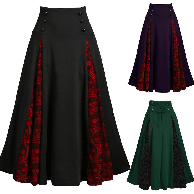 Winter Ladies Lace Stitching Skirt High Waist Sexy Long Section Thickening Package Hip Gothic Novel Wear Bottoming Skirts #XM - The Black Ravens