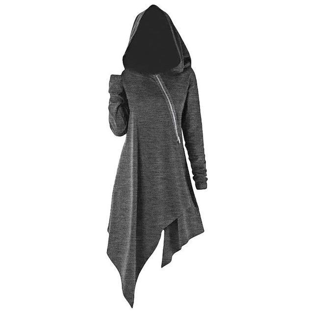 Hoodies Women Sweatshirt Gothic Solid witch Hooded Zipper Long Sleeve Autumn Winter Pullover Irregular Tops sudadera mujer 2020 - The Black Ravens