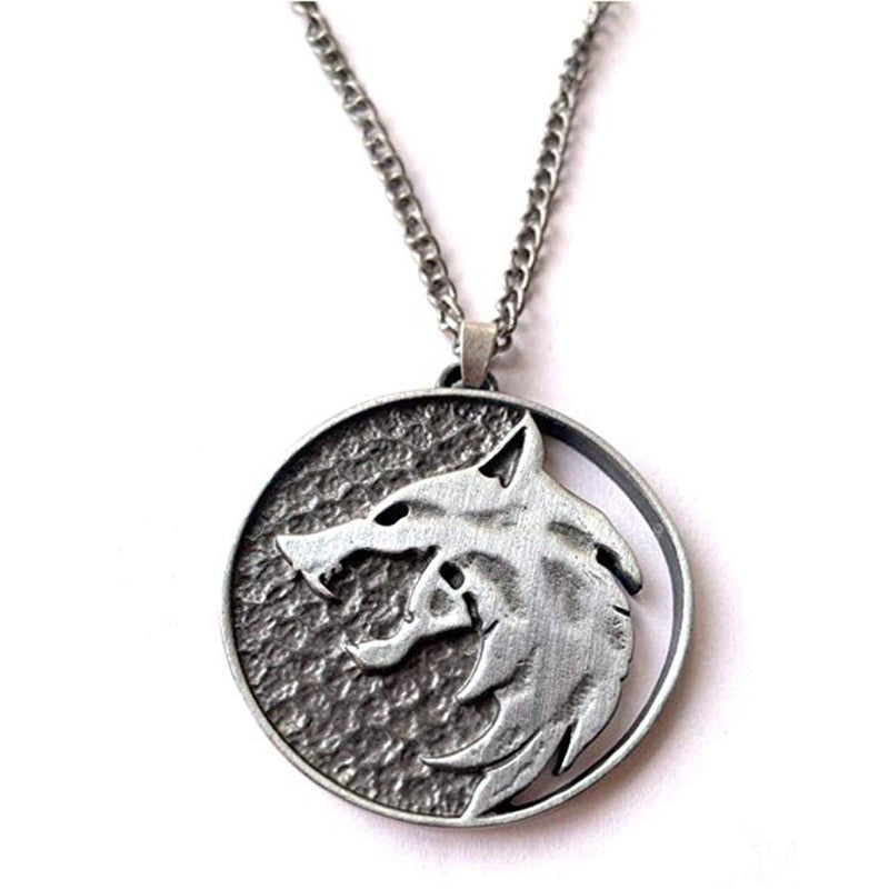 Fashion Wolf Head Necklace Name Necklace Pendants Fashion Jewelry Party Witcher Medallion Wolf Round Necklace Long Men Gift 0128 - The Black Ravens