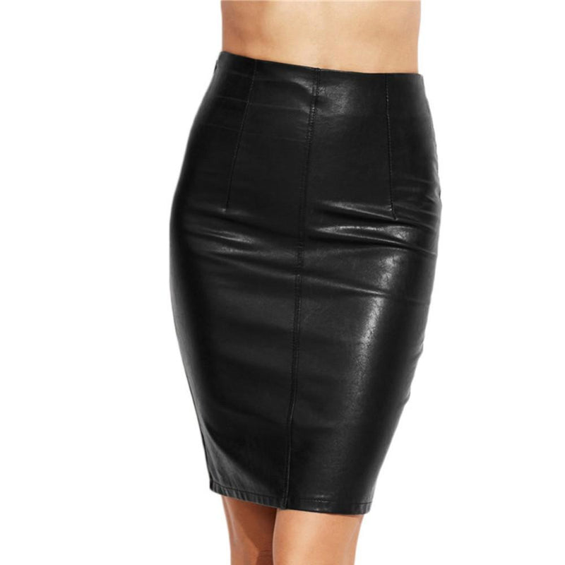 New Arrival Women Black Skiny Pencil Skirts Female Sexy Clothing Spring Autumn Punk Street Fashion Bodycon PU Leather Skirt - The Black Ravens