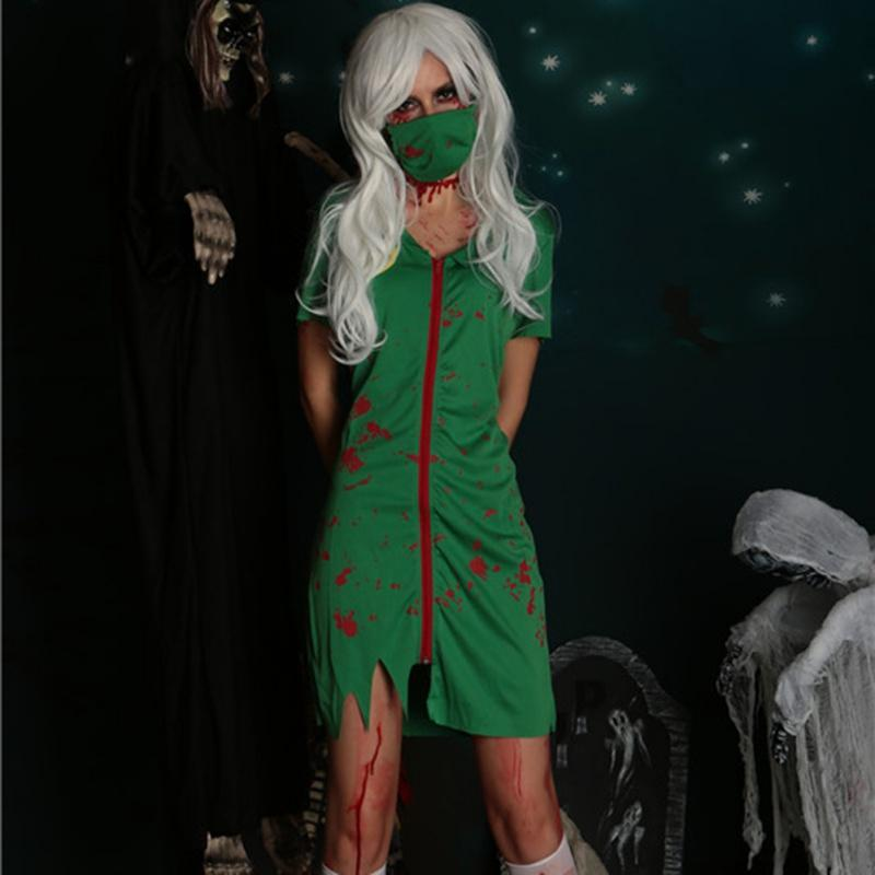 Cosplay Zombie Green Nurse Suit With Mask Halloween Cospla Vampire Female Nurse Service Performance Suit White Plus Size - The Black Ravens