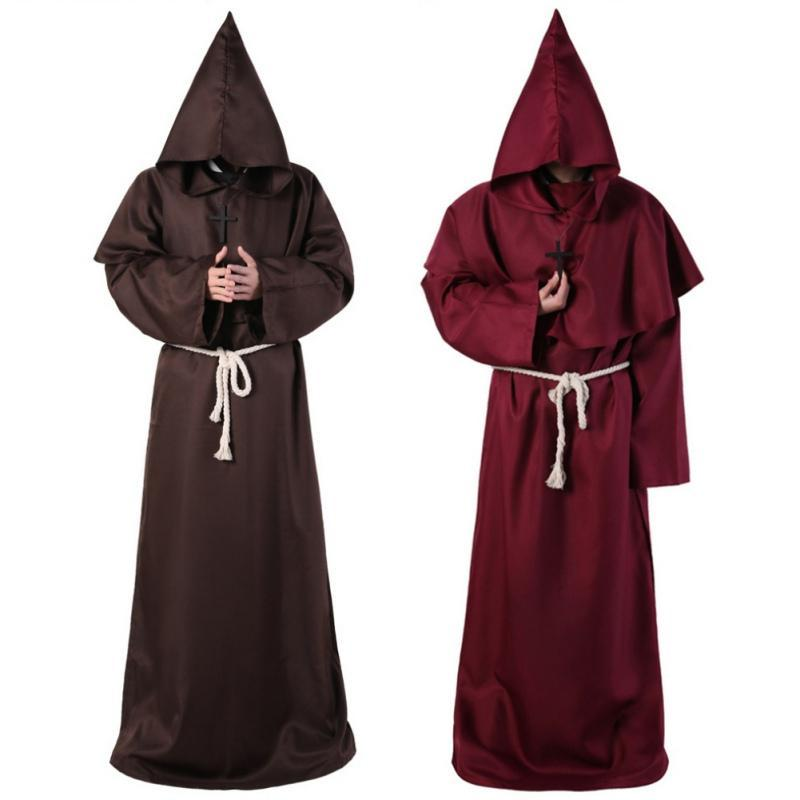 Cosplay Halloween Cloak Christian Coat Priest Robe Monk Puppet Costume Cosplay Solid Color Unisex Halloween Costumes For Women - The Black Ravens