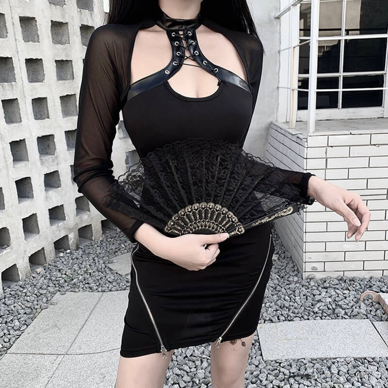 Fashion Hollow Out Black Dress Women Slim Mesh Long Sleeve Dress Womens With Zippers Mini Dresses Female Robe#G30 - The Black Ravens