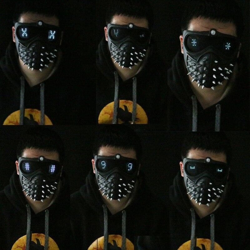 Punk Game Watch Dogs Mask 2 WD2 Marcus Holloway Mask Wrench Cosplay Rivet Face Mask Half Face Latex Party Masks Cosplay Props - The Black Ravens