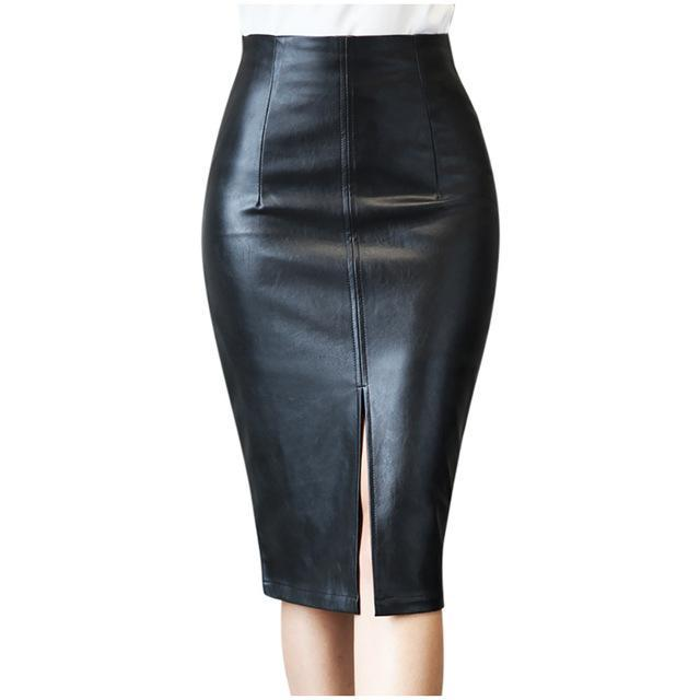 Fashion Women Leather Skirt High Waist Slim Party Pencil Skirt Black Daily Wear Sexy Skirts Clothes For Ladies 2020#G30 - The Black Ravens
